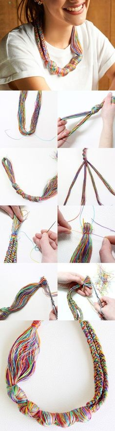 Gift Idea - Embroidery Thread Necklace - 31 Cheap And Easy Last-Minute DIY Gifts They'll Actually Want Textile Jewelry, Fabric Jewelry, Beaded Jewelry, Handmade Jewelry, Beaded Bracelet, Crystal Jewelry, Silver Jewelry, Jewelry Necklaces, Diy Necklace Making