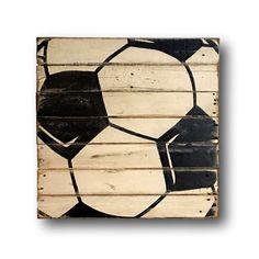 Soccer Wall Art / Sports Decor/ Rustic Vintage by PalletsandPaint