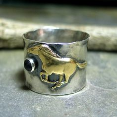 WindRunner - Wide band running horse ring with black onyx, Unisex or Men's ring.  Other stone choices:  turquoise, lapis, citrine, amethyst, blue topaz, moonstone.    ...from Lavender Cottage Jewelry