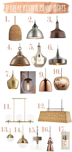 Today I am sharing some of my favorite kitchen island lights. For kitchen island light spacing, see my previous post, Kitchen Island Lighting Guide. I am doing shopping for my own remodel an… Kitchen Lighting Design, Kitchen Lighting Fixtures, Kitchen Pendant Lighting, Kitchen Pendants, Copper Lights Kitchen, Kitchen Island Light Fixtures, Kitchen Lights Over Island, Kitchen Island Lighting Modern, Kitchen Industrial