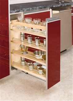 Rev-A-Shelf 448 Series 8 Inch Base Organizer with Adjustable Shelves Natural Wood Base Cabinet Organizers Pull Out Organizers Shelves Kitchen Cabinet Organization, Kitchen Storage, Locker Storage, Cabinet Organizers, Kitchen Organizers, Lid Storage, Household Organization, Cabinet Ideas, Kitchen Pantry