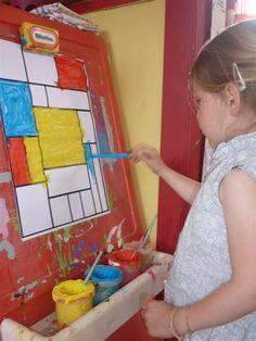 Piet Mondriaan schilderij verven Preschool Art Projects, Art Activities, Rembrandt, Fun Arts And Crafts, Rainbow Theme, Kindergarten Art, Arts Ed, School Themes, Art Classroom