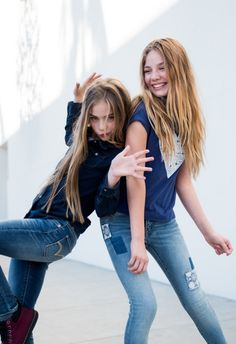 Best friends in blue jeans. Play with patchwork customization or dress her in classic denim this school year. #LevisKids