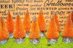 12 Orange Bottle Brush trees Handdyed & Sugared