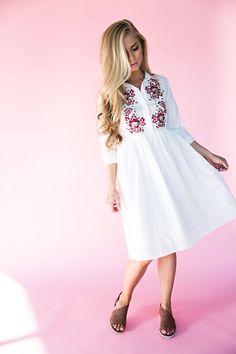 Rose Embroidered Babydoll Dress