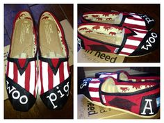 Hand Painted Arkansas Razorback TOMS Shoes  by ruelledesigns soo cute
