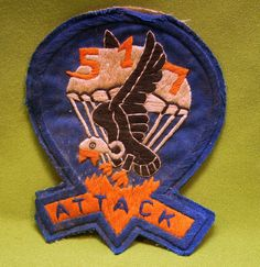 """Original WWII US Army 517th Parachute Infantry Regiment Airborne Patch """"Attack"""""""