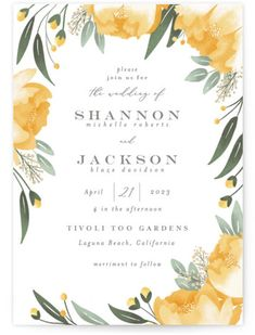 A Hand Drawn Frame Of Spring Botanicals. Botanical, Yellow Wedding Invitations From Minted By Independent Artist Joanna Griffin. Marigold Wedding, Daisy Wedding, Cream Wedding, Botanical Wedding, Wedding Paper, Wedding Cards, Wedding Decor, Wedding Stuff, Wedding Ideas