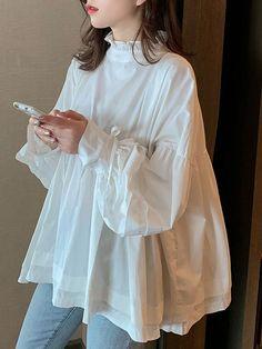 Silk organza blouse with hand painted details Organza Pakistani Fashion Casual, Pakistani Dresses Casual, Pakistani Dress Design, Muslim Fashion, Hijab Fashion, Korean Fashion, Fashion Dresses, Modest Fashion, Ladies Fashion