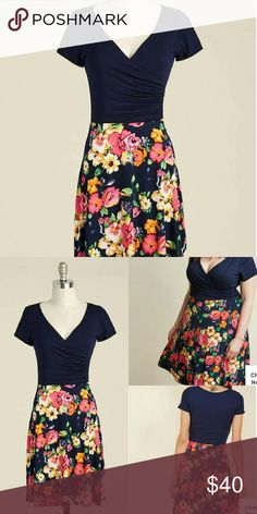 """Modcloth Botanical Breakfast Floral Dress Beautiful EUC dress! The floral skirt portion is really vibrant. Strechy all over. No pockets.   Flat measurements are as follows:   Waist 17"""" Pit to pit 21"""" Shoulder to hem 40"""" Modcloth Dresses"""
