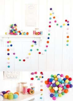How to Make a Ball Garland DIY Projects Craft Ideas & How To's for Home Decor with Videos Want to know how to make felt ball garland? If you& looking for easy party decorations, include this on your to-do list. It will make your party festive! Pom Pom Crafts, Felt Crafts, Diy And Crafts, Crafts For Kids, Party Crafts, Diy Wool Felt, Felt Diy, Felted Wool, Felt Ball Garland