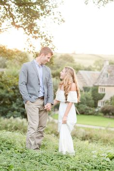 The Cotswolds, in Europe, was like a fairytale, with it's cobblestone streets, and old world buildings. It made the perfect setting for this anniversary session! She wore an off-the-shoulder cream lace dress, with her hair down in loose curls.