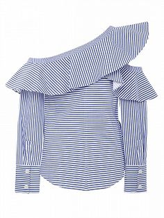 Self Portrait Ruffled Striped Cotton-Poplin Top African Fashion Dresses, Fashion Outfits, Latest Fashion For Women, Womens Fashion, Urban Chic, Shirt Blouses, Blouse Designs, Blouses For Women, Designer Dresses