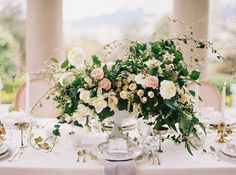 Elegant Wedding Tablescape Inspiration with Greenery | Photography by www.holeighvphotography.com