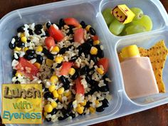 Easy and healthy lunch idea! Brown rice salad | packed in @EasyLunchboxes containers