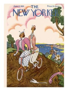 "The New Yorker Cover - June 16, 1928, ♫ ""on a bicycle built for two....""   ♫"