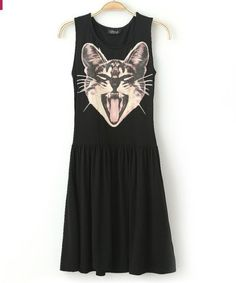 NEW EUROPEAN AND AMERICAN WOMEN'S WHOLESALE FASHION ROUND NECK YAWN CAT PRINT BIG SWING CASUAL DRESS 1601