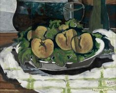 A Dish of Fruit, A Glass and a Bottle Artwork by Georges Braque Oil Painting & Art Prints on canvas for sale - PaintingSTAR.com Art Online Store