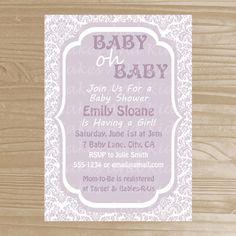 Baby Shower Invitation - Lavender Damask Girl Baby Shower Invitation - Printable Baby Shower Invite - Digital File