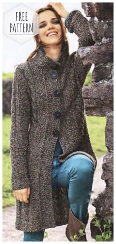 knitted coat of braids and pearl patterns Knitted Coat Pattern, Crochet Coat, Knit Jacket, Knit Cardigan, Modest Prom Gowns, Coats For Women, Sweaters For Women, Winter Outfits Women, Coat Patterns