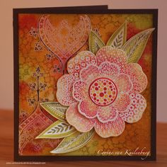Corine's Gallery: Chocolate Baroque Tangled Garden - like the idea of a really big flower on the card