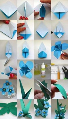 origami flower - 40 Origami Flowers You Can Do instructions for an origami flower origami forget-me-not. I totally forgot about these! Everybody knows about origami, the Japanese art of paper folding. But what is it that can make origami so magical, so en Gato Origami, Origami And Kirigami, Paper Crafts Origami, Paper Crafts For Kids, Origami Art, Diy Crafts, Origami Folding, Paper Folding, Origami Bookmark
