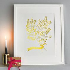 metallic personalised family branches print by allihopa | notonthehighstreet.com