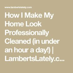 How I Make My Home Look Professionally Cleaned (in under an hour a day!) | LambertsLately.com