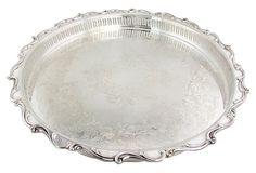 Round Silver Tray w/ Pierced Gallery