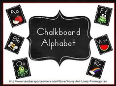 Chalkboard theme alphabet will brighten your classroom! This set contains approximately 58 pages so you can pick and choose which pages you want to use. I have included 2 clip art options for many letters and offered a long and short vowel picture for each vowel and also included a page with both long & short vowel on one page. **A note about printing: I took my own cardstock to Staples & they printed these for 49 cents a page and the quality was wonderful!