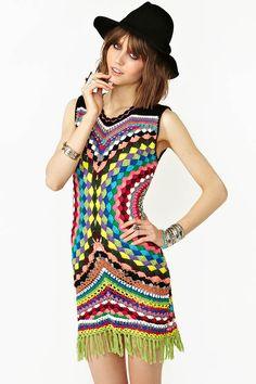 Shakuhachi Psychedelic Crochet Dress For Women