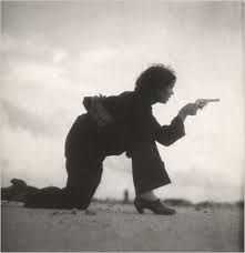 A photograph of a woman in Barcelona, Spain training for a Republican militia in August 1936, taken by Gerda Taro.