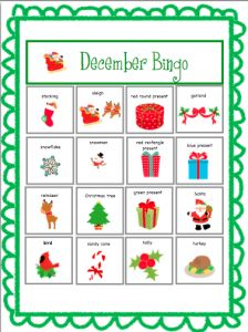 December Bingo! Bingo is a great game to include all types of students.