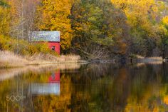 Fall Reflections - A old boat house and trees with autumn colors reflecting in the calm lake. Old Boats, Boat House, Beautiful Images, Norway, Reflection, Landscapes, Country Roads, Trees, Calm