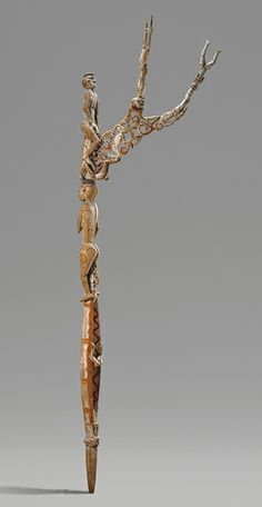 Bis Pole [Asmat people, Omadesep village, New Guinea, Papua (Irian Jaya) Province, Indonesia] | The Metropolitan Museum of Art. Ritual after deaths in a village. Used only once and then returned to the woods. Carved from one piece of wood. Originally associated with headhunting.