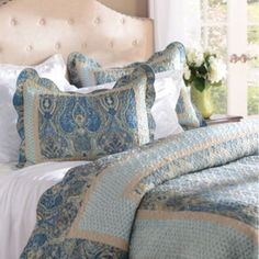 Beautiful blues and tranquil tans, this paisley print is cozy combination of style and comfort! Bring a splash of color into your bedroom with this playful quilt set! #Kirklands #pinitpretty