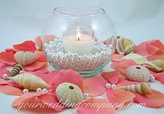 Beach Centerpiece - Candle, Pearls and Shells