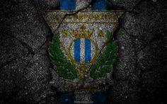 Descargar fondos de pantalla Leganés, el logotipo, el arte, La Liga bbva, fútbol, club de fútbol, Club Deportivo Leganés, LaLiga, el grunge, el Leganés FC