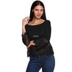 Women Casual Loose 3/4 Sleeve Hollow Lace Crochet Patchwork Irregular Hem Solid Tops Blouse