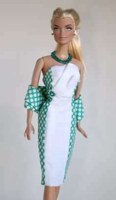Teal and white dress and stole for Barbie von ChicBarbieDesigns