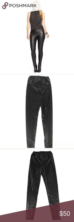 Faux leather leggings Faux leather leggings are perfect.  You don't have to worry about these fading like your favorite black ones or even getting any piling.  They have an elastic waist and can be worn in so many ways that are edgy and sexy with ankle booties pumps or knee high boots.  On the warmer days pair em with 👡  brand new never worn 🚭🚫🐱🚫🐶🏠 Lauren Ralph Lauren Pants Leggings