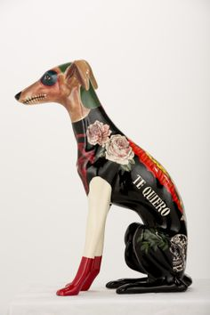ceramic whippet Mexican by Evelyn Tannus