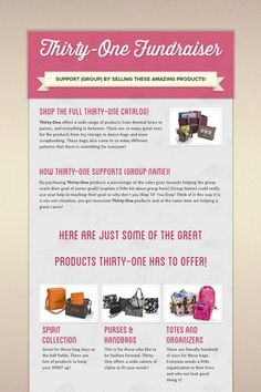 Thirty-One Fundraiser: Shop and contact me for ways to raise funds for your favorite cause! www.mythirtyone.com/teeganbraun31 or email me @ teeganbraun31 at gmail dot com