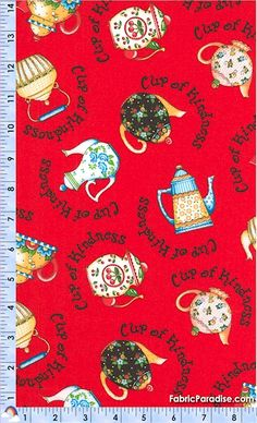 Cup of Kindness - Tossed Teapots on Red by Mary Engelbreit - BACK IN STOCK! - Food & Beverages, Elkabee's Fabric Paradise.com, LLC