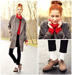 Love the coat and grey / red combo