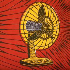 electric fan : red yellow - Dutch wax print