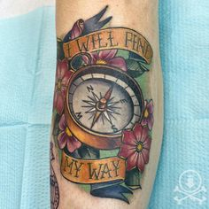 Beautiful compass, flowers, and lettering tattoo by Meghan Patrick. #12ozstudios #team12oz #tattoo #tattoos #tattooed #tattooing #tattooism #tattooart #tattooartist #tattooer #tattooist #art #artstudio #tattooshop #tattoostudio #ink #inked #compass #compasstattoo #compastattoos #colortattoo #ladytattooers #flower #flowers #flowertattoo #flowertattoos #lettering #letteringtattoos
