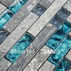 Blue shell tile glass mosaic kitchen backsplash tiles SGMT026 grey stone bathroom tiles glass stone mosaic tile free shipping