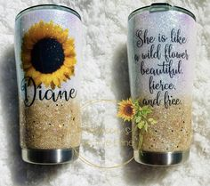 Sunflower tumbler with inspiring quote, wild flower tumbler, sunflower, OZARK, YETI Diy Tumblers, Custom Tumblers, Glitter Tumblers, Tumblr Cup, Glitter Cups, Gold Glitter, Coffee Tumbler, Coffee Mugs, Cup Crafts