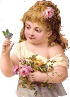 Oblaten Glanzbild scrap die cut chromo Kind child enfant Schmetterling butterfly